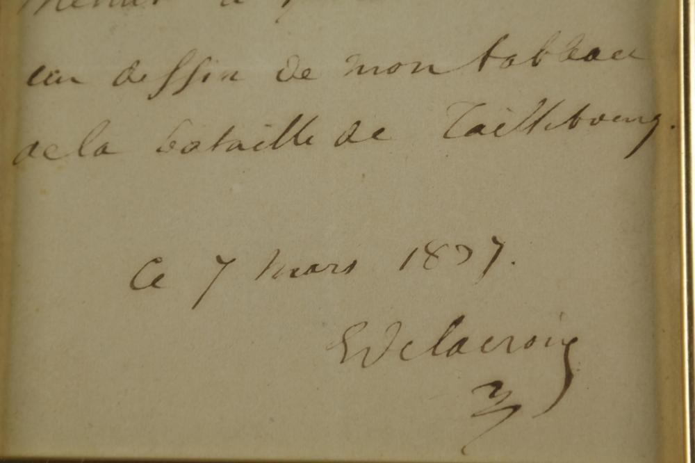Eugene Delacroix. Autograph Note Signed. 1834.