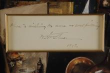 Lot 39: William Merritt Chase. Autograph Quote. 1898.