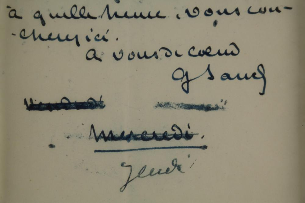Lot 113: George Sand. Autograph Note Signed.