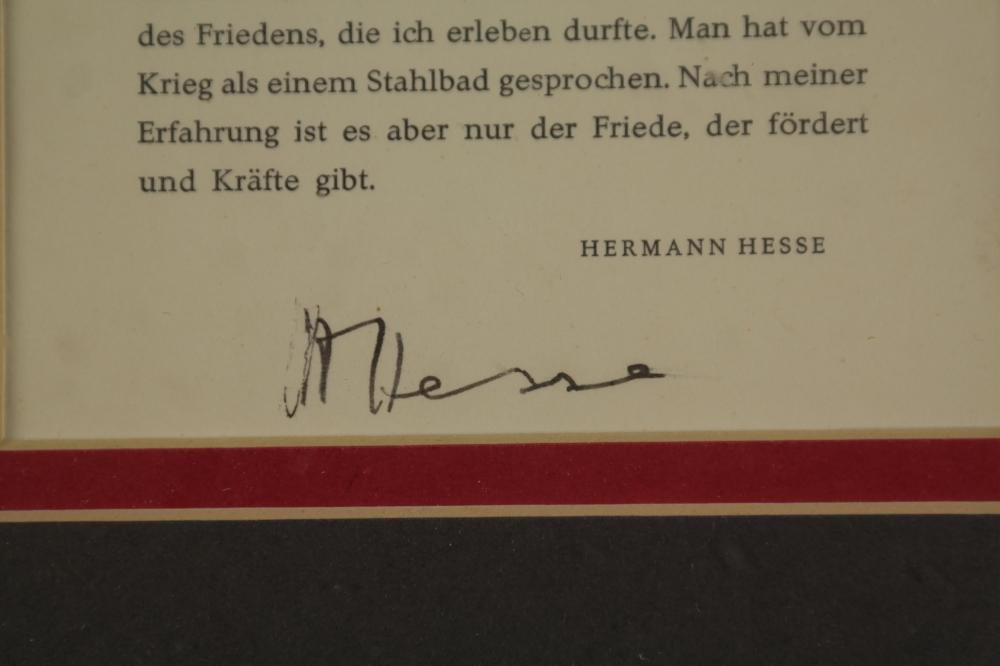 Lot 75: Herman Hesse. Autograph.