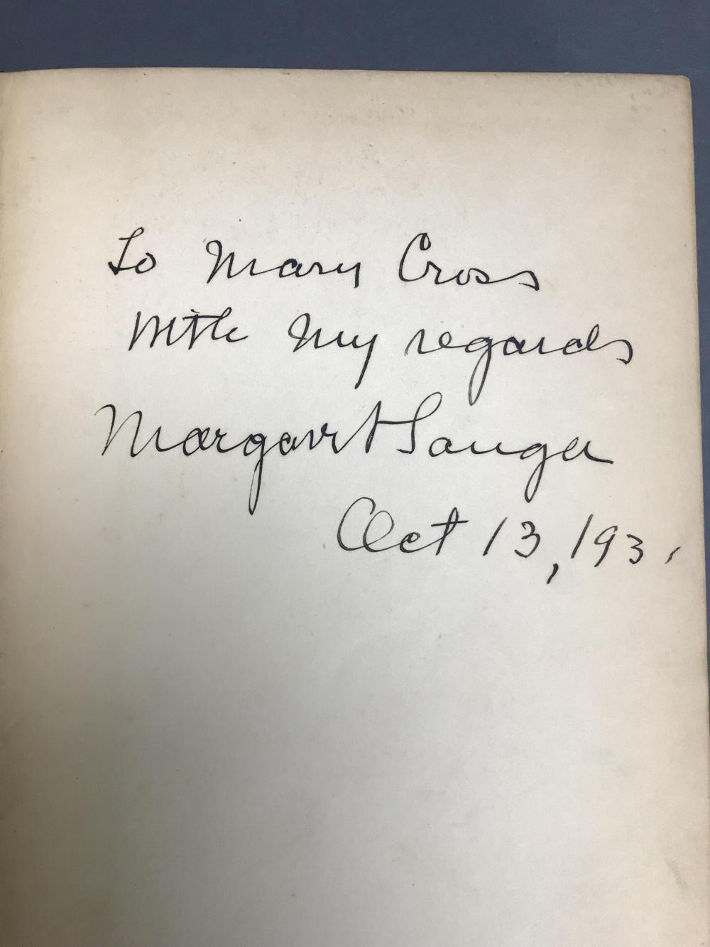 Lot 208: 2 vols. Birth Control. Incl: Margaret Sanger. Sgd.