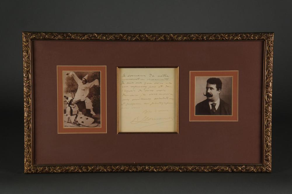 Ruggero Leoncavallo. Autograph Letter Signed.
