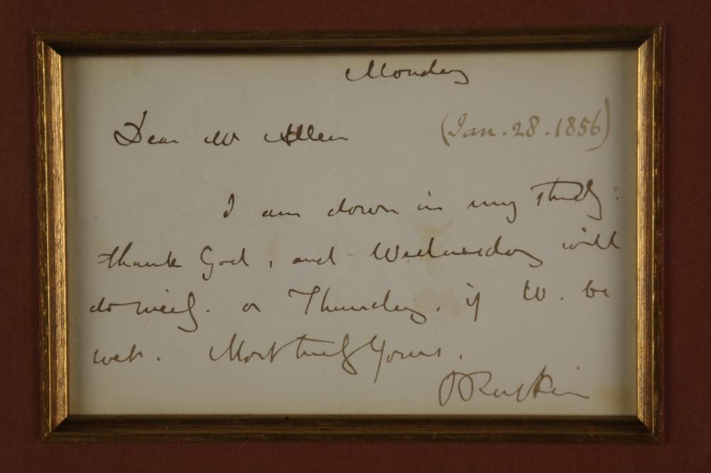 Lot 79: John Ruskin. Autograph Letter Signed. 1856.
