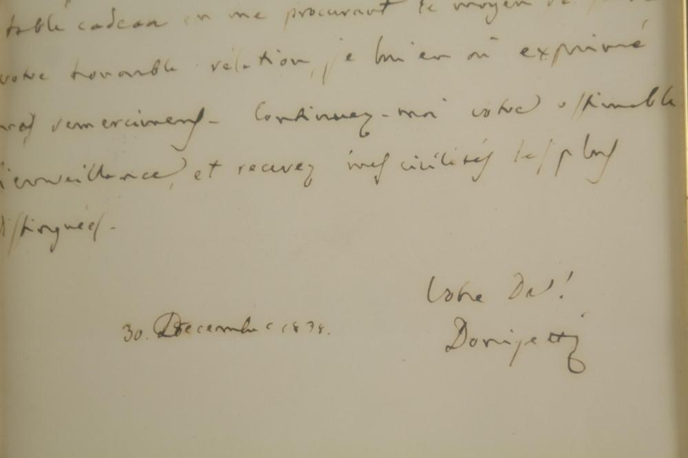 Lot 52: Gaetano Donizetti. Autograph Letter Signed.