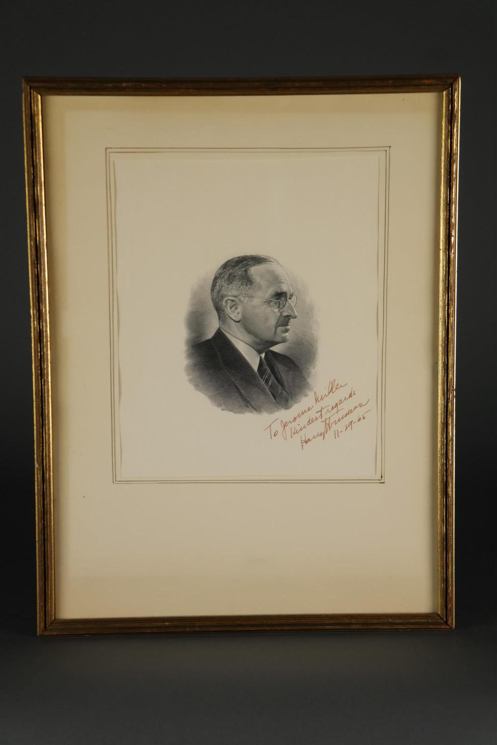 Lot 127: Harry Truman. Portrait, Inscribed and Signed.