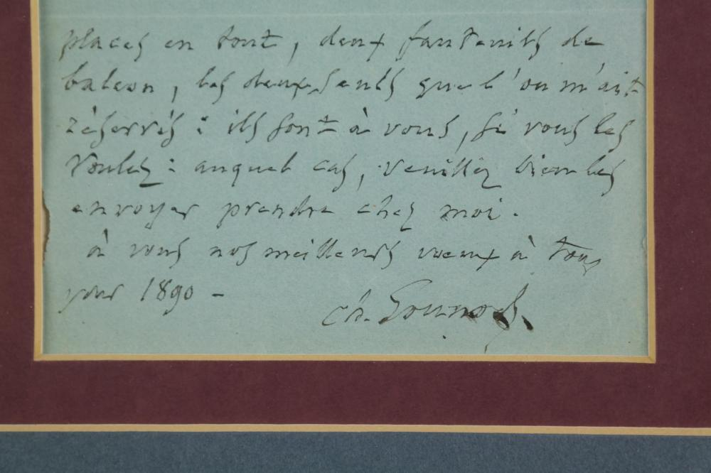 Lot 71: Charles Gounod. Autograph Note Signed. 1889.