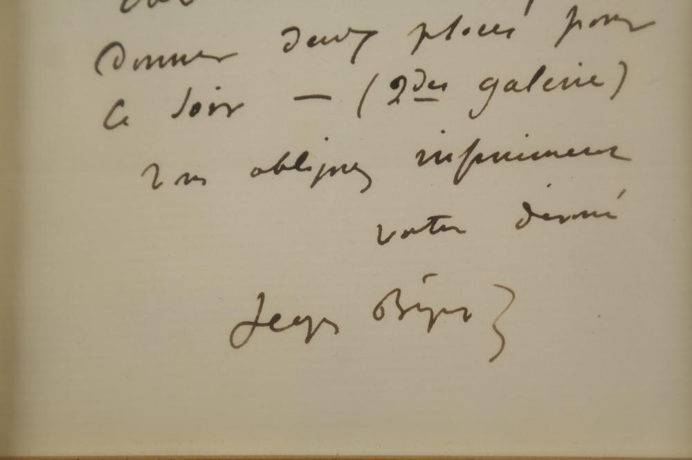 Lot 22: Georges Bizet. Autograph Letter Signed.