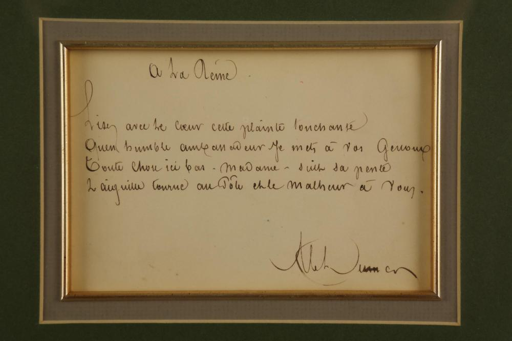 Lot 55: Alexandre Dumas. Manuscript Senitment Signed.