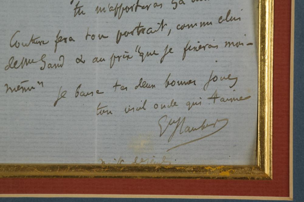 Lot 65: Gustave Flaubert. Autograph Letter Signed. 1866.