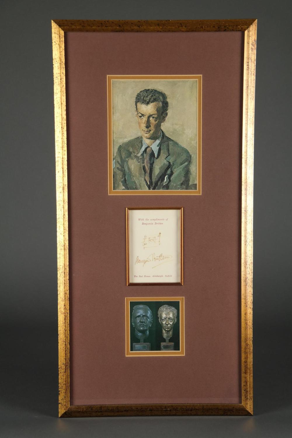 Lot 32: Benjamin Britten. Card Signed.