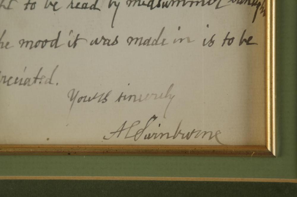 Lot 121: Algernon Swinburne. Autograph Letter Signed. 1885.