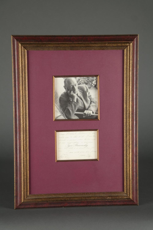 Igor Stravinsky. Autograph Note Signed. 1962.