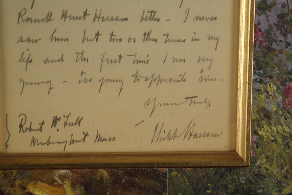 Lot 74: Childe Hassam. Autograph Letter Signed. 1931.