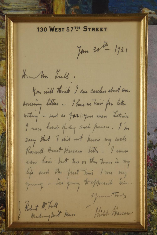 Lot 74: Childe Hassam. Autograph Letter Signed. 1931.