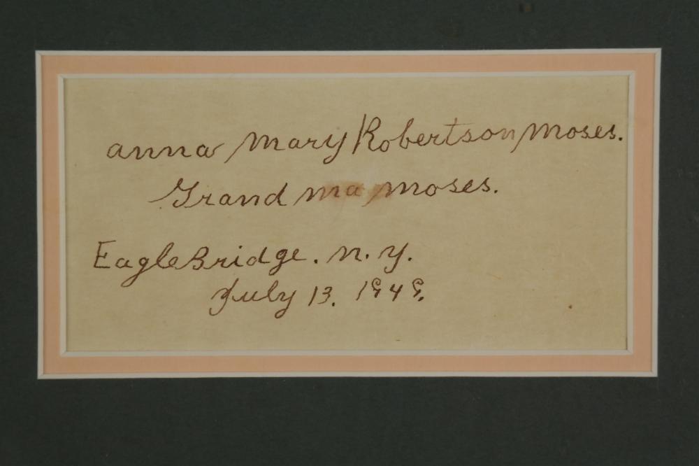 Lot 98: Grandma Moses. Signed Inscription.