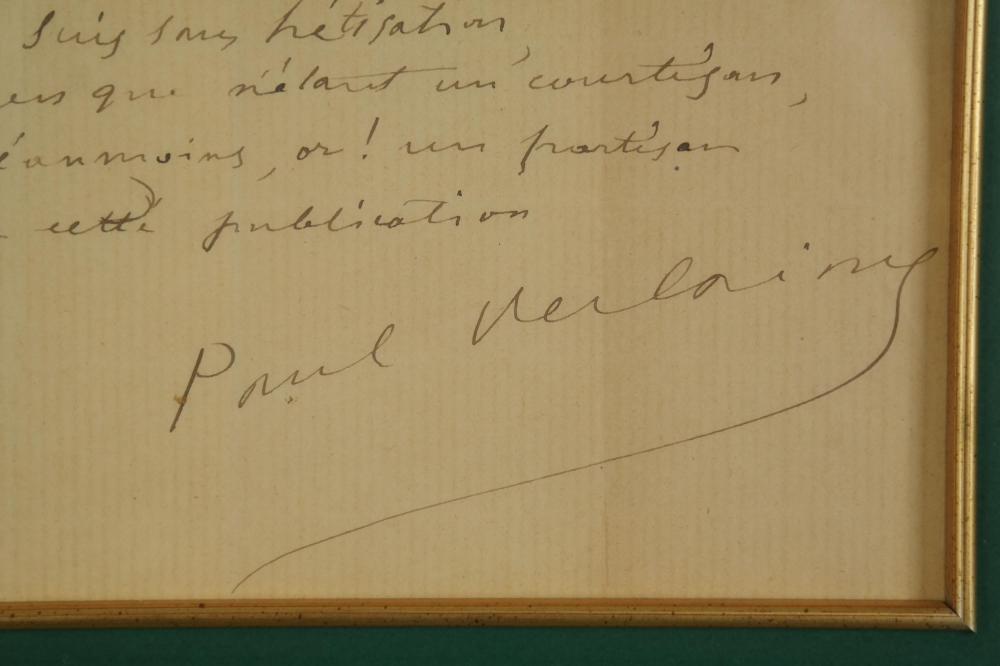 Lot 131: Paul Verlaine. Autograph Quote Signed.