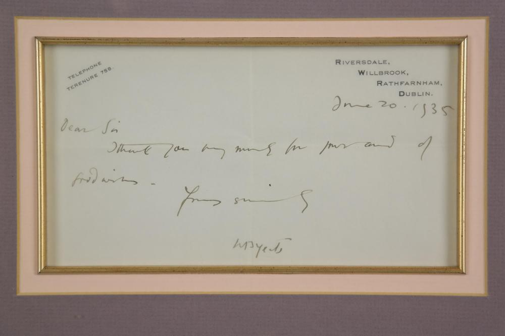 Lot 135: William Butler Yeats. Autograph Letter Signed.