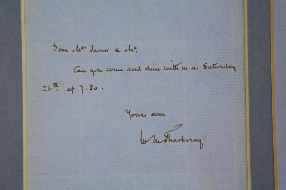 Lot 123: Willliam M. Thackeray. Autograph Letter Signed.