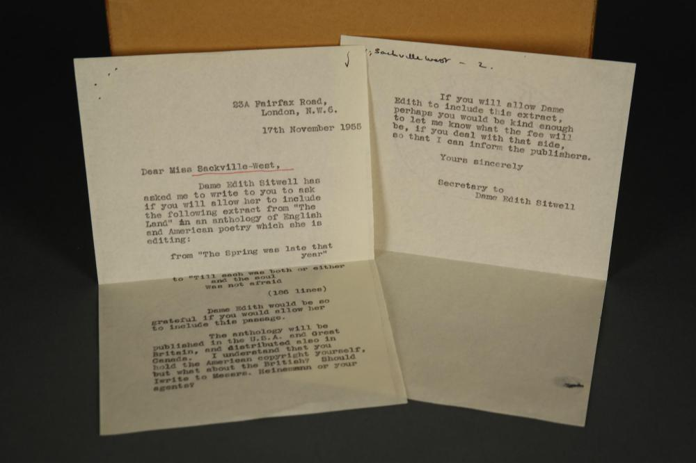 Lot 111: Vita Sackville-West. Typed Letter Signed. 1955.