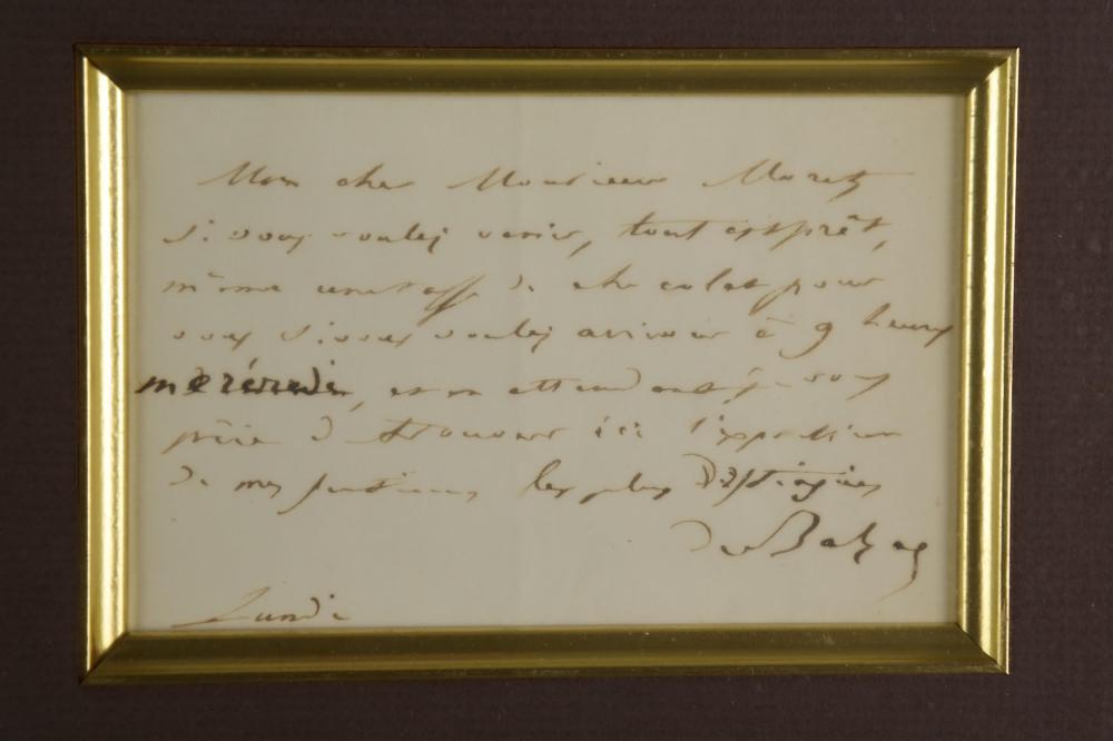 Lot 15: Honore de Balzac. Autograph Letter Signed.