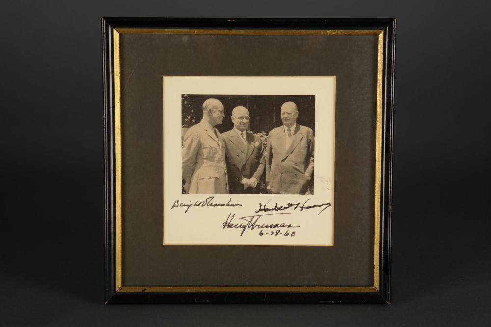 Eisenhower, Truman, Hoover. Photograph Signed.