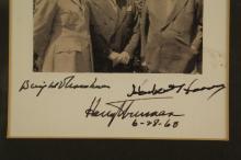 Lot 56: Eisenhower, Truman, Hoover. Photograph Signed.