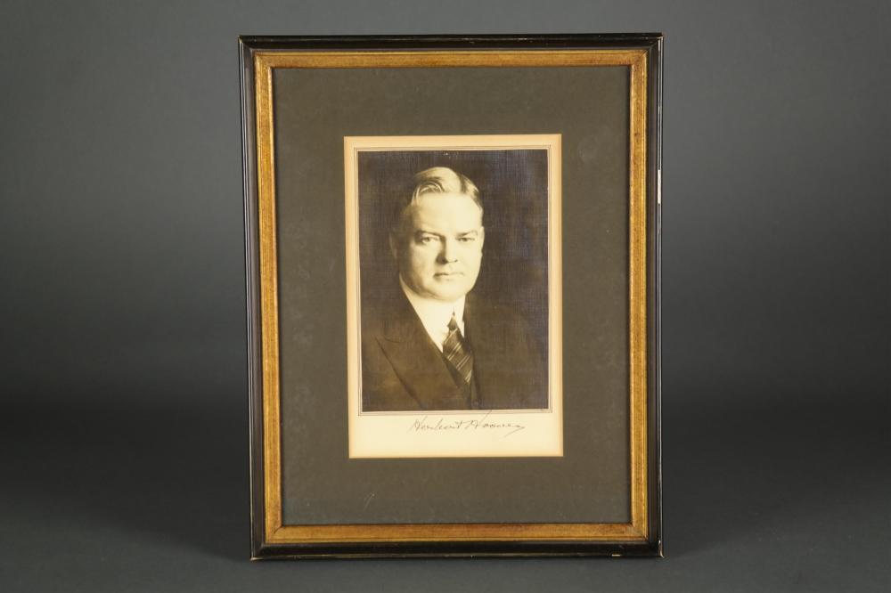 Lot 10: 2 Signed Portraits. C. Coolidge, H. Hoover.