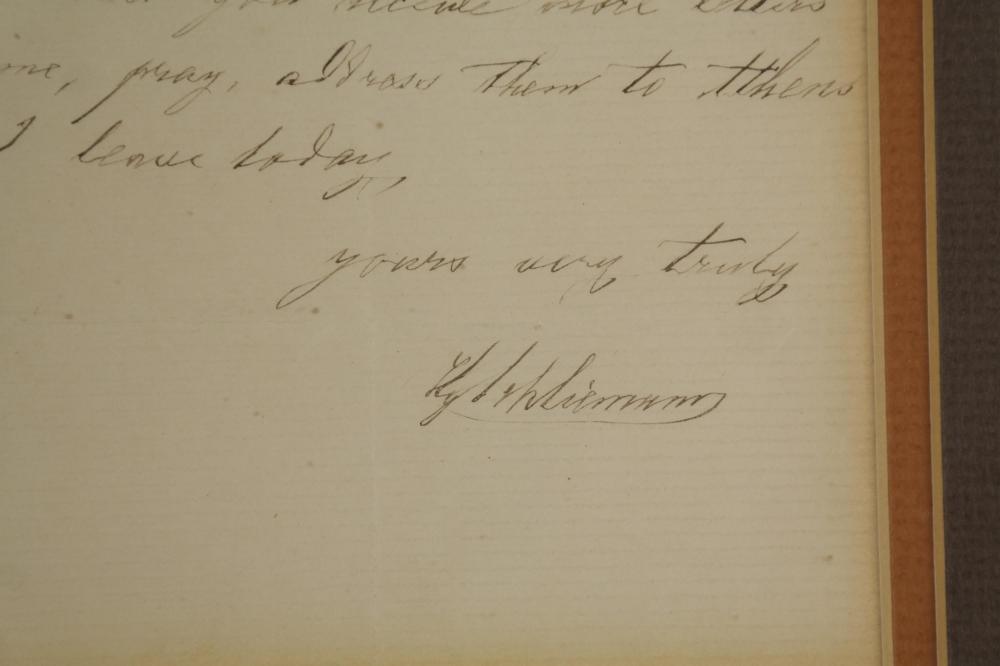 Heinrich Schliemann. Autograph Letter Signed.