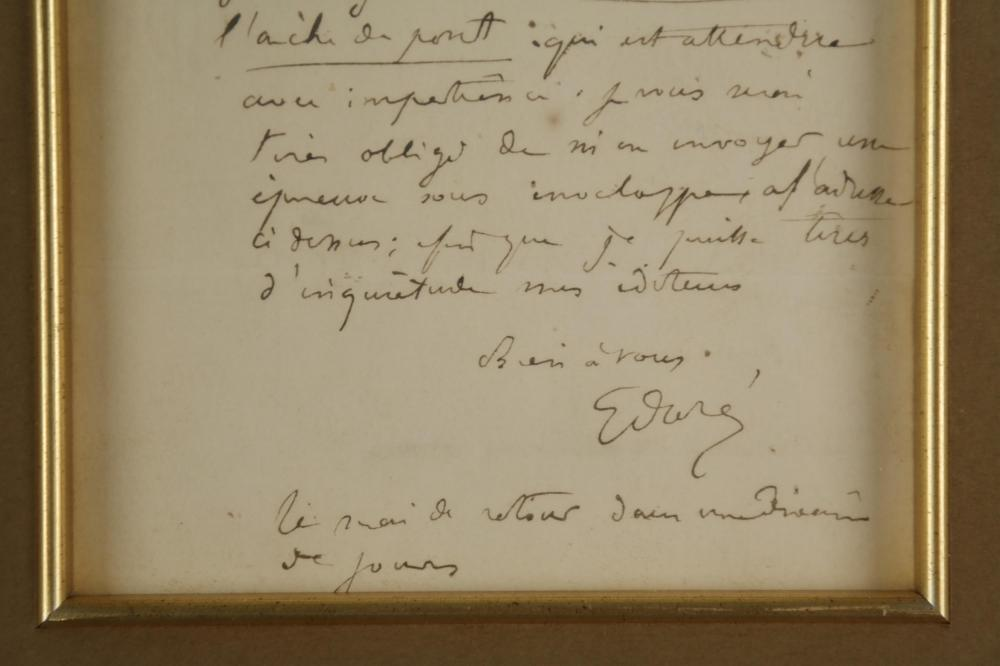Gustave Dore. Autograph Letter Signed.