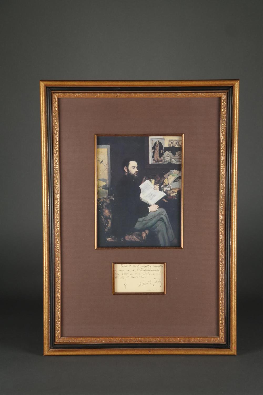 Lot 136: Emile Zola. Autographed Note Signed.