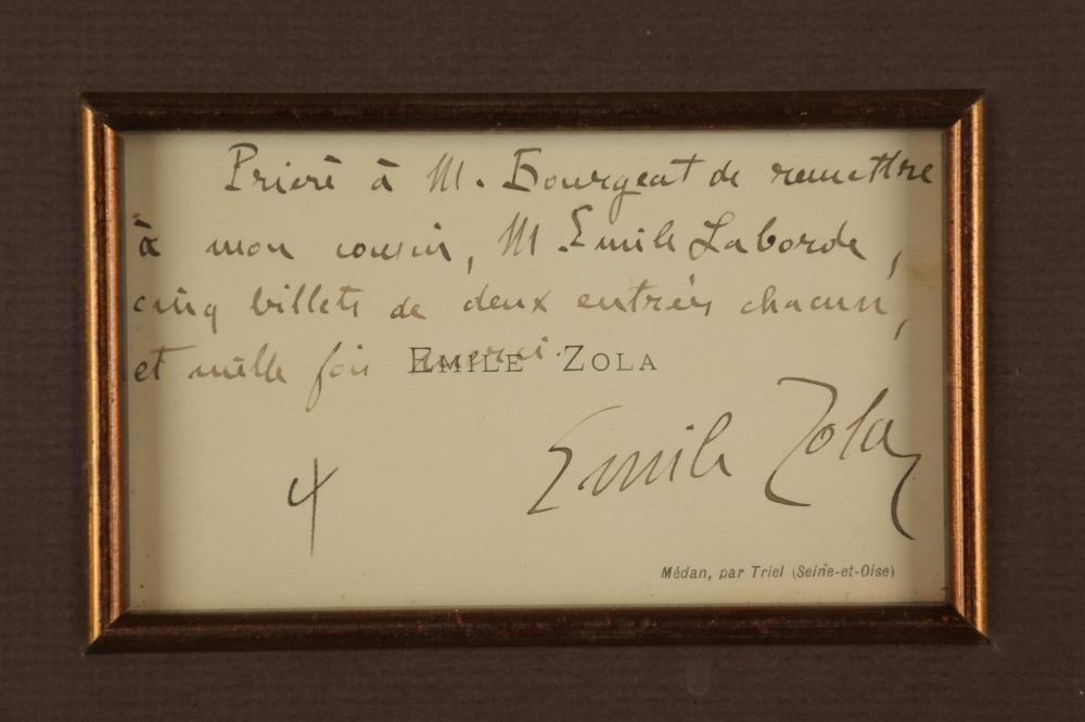 Emile Zola. Autographed Note Signed.