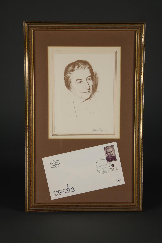 Golda Meir. Portrait Signed.