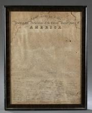 Lot 316: Declaration of Independence engraving early 1800s.