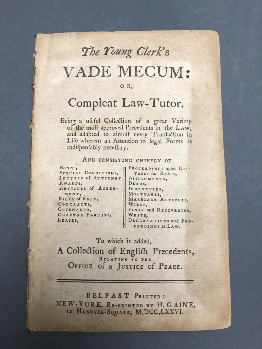 Lot 183: The Young Clerk's Vade Mecum. 1776.