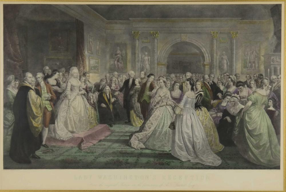 Lot 365: Lady Washington's Reception. Hand-colored Engr.