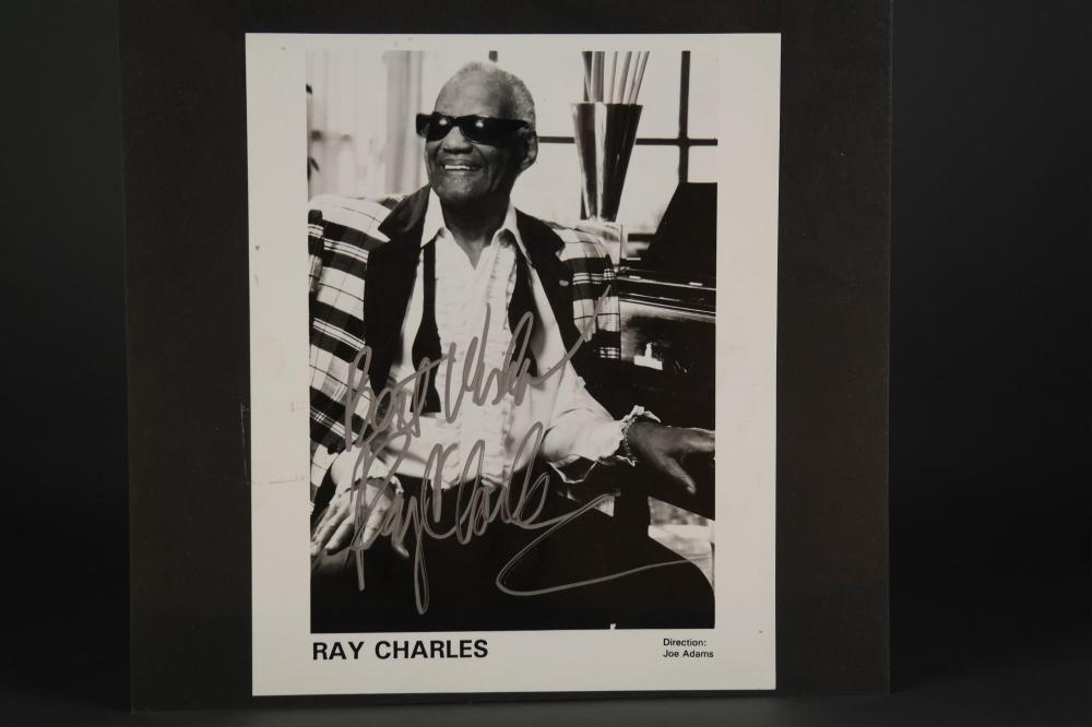 Signed photo of Ray Charles.