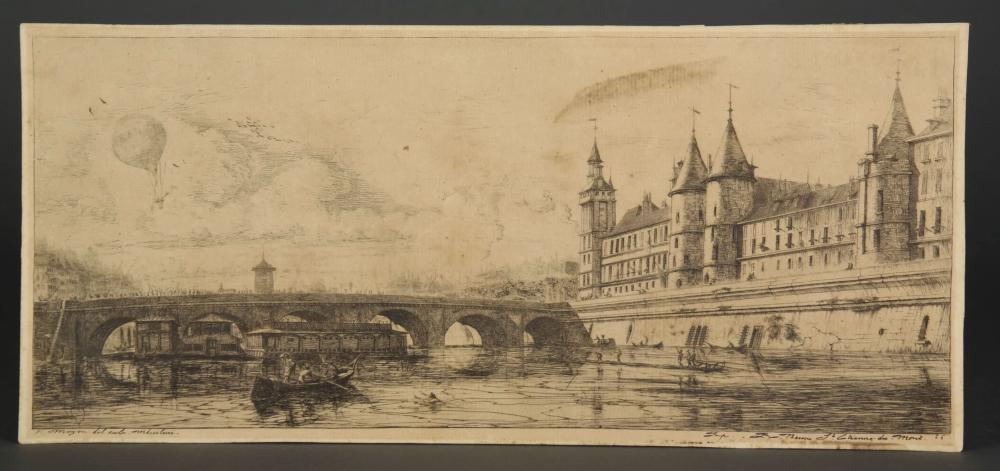 Lot 353: Charles Meryon. Pont-au-Change, Paris. 1854.