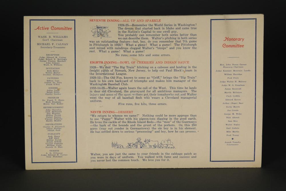 Lot 137: 2 1937 Walter Johnson Dinner Programs. Sgd.