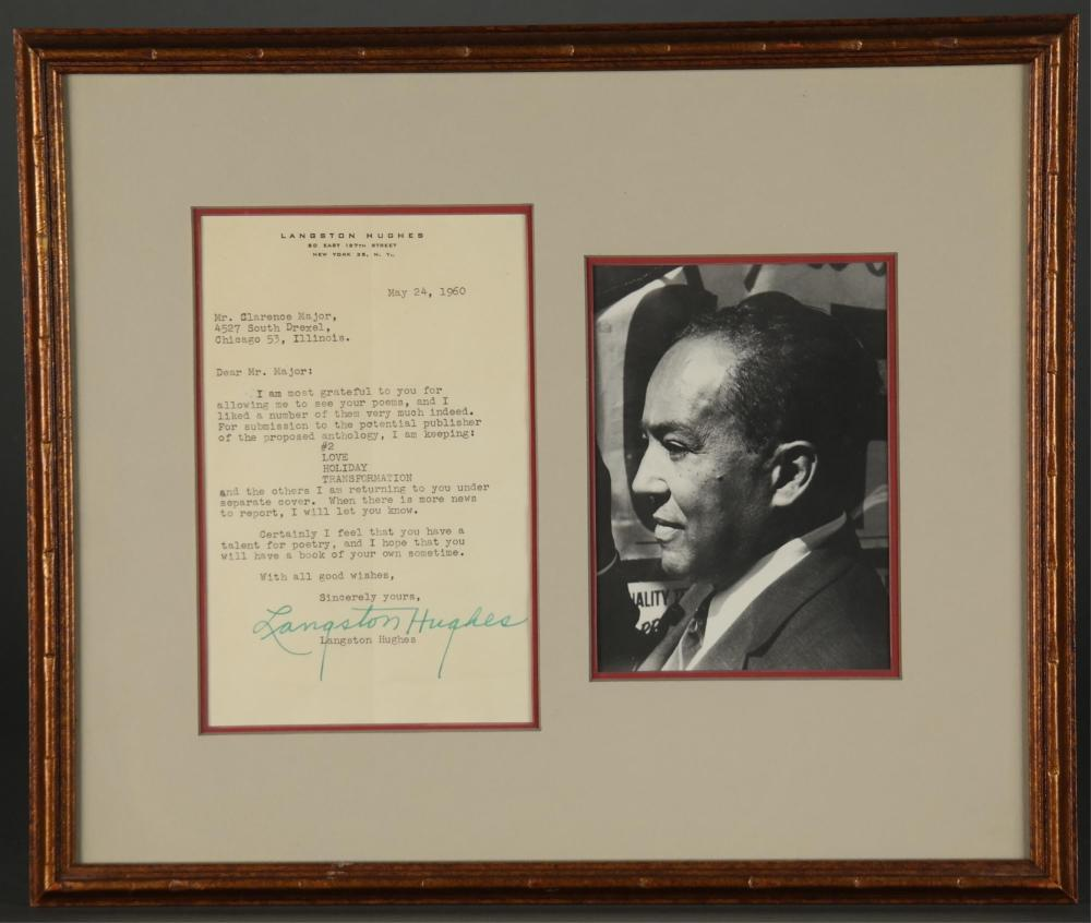 Langston Hughes. Typed Letter Signed.