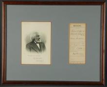 Lot 54: Frederick Douglass. Document Signed. 1885.