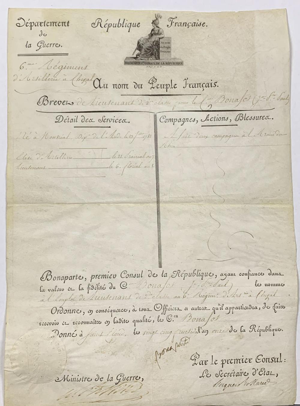 Napoleon Document. 1803. Signed.