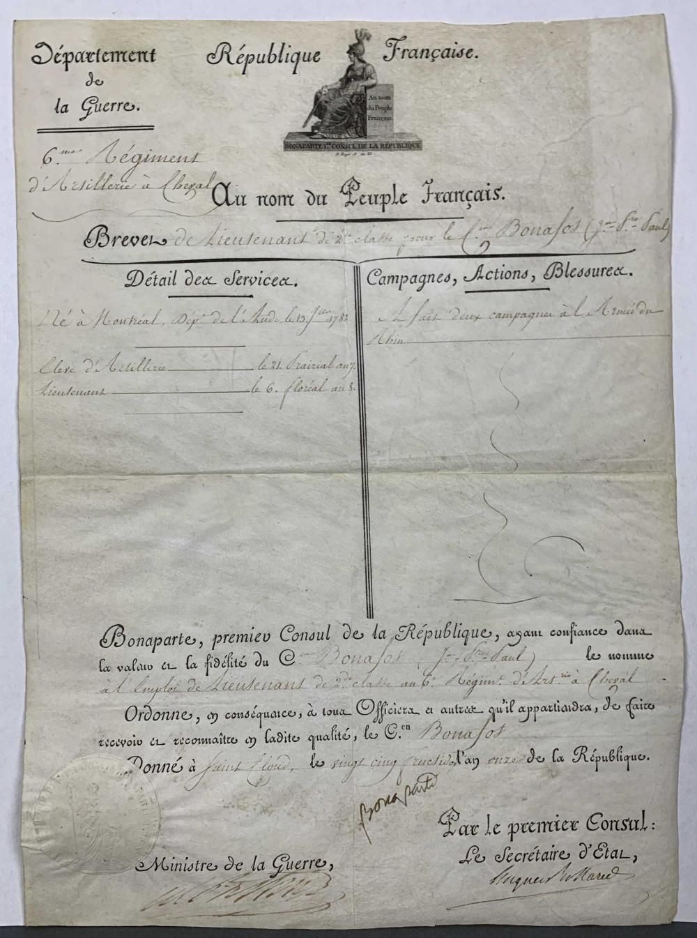 Lot 25: Napoleon Document. 1803. Signed.