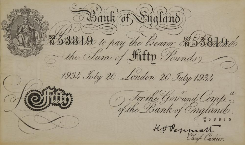 Lot 319: WWII Operation Bernhard Forged Fifty Pound Note.
