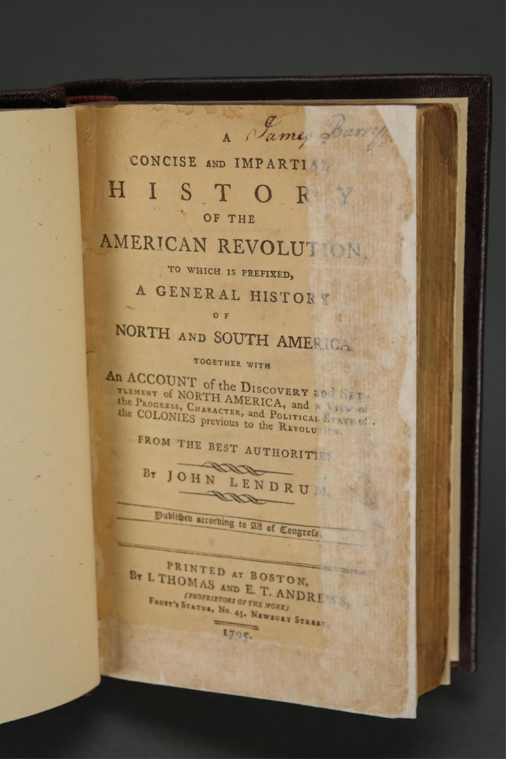Lot 318: History of the American Revolution. Lendrum. 1795.