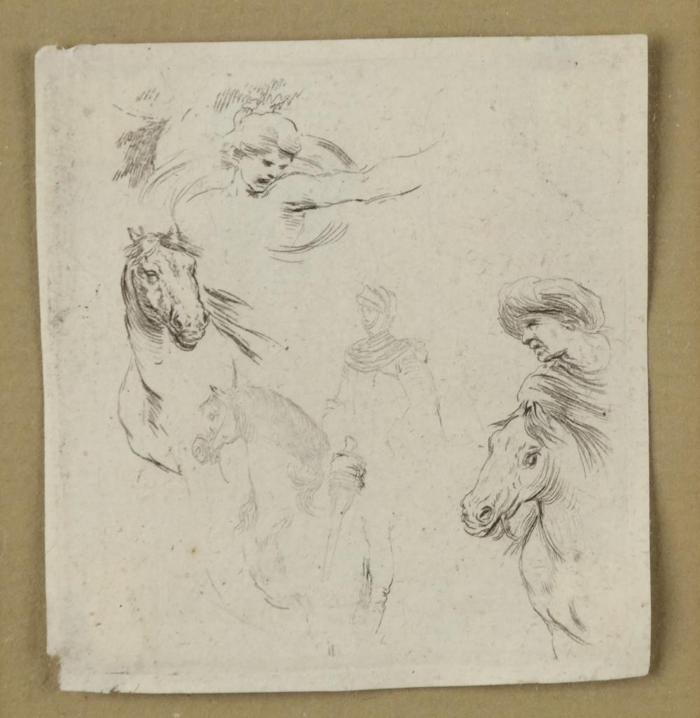 Lot 334: Stefano della Bella. Four studies. ca. 1645-1650.