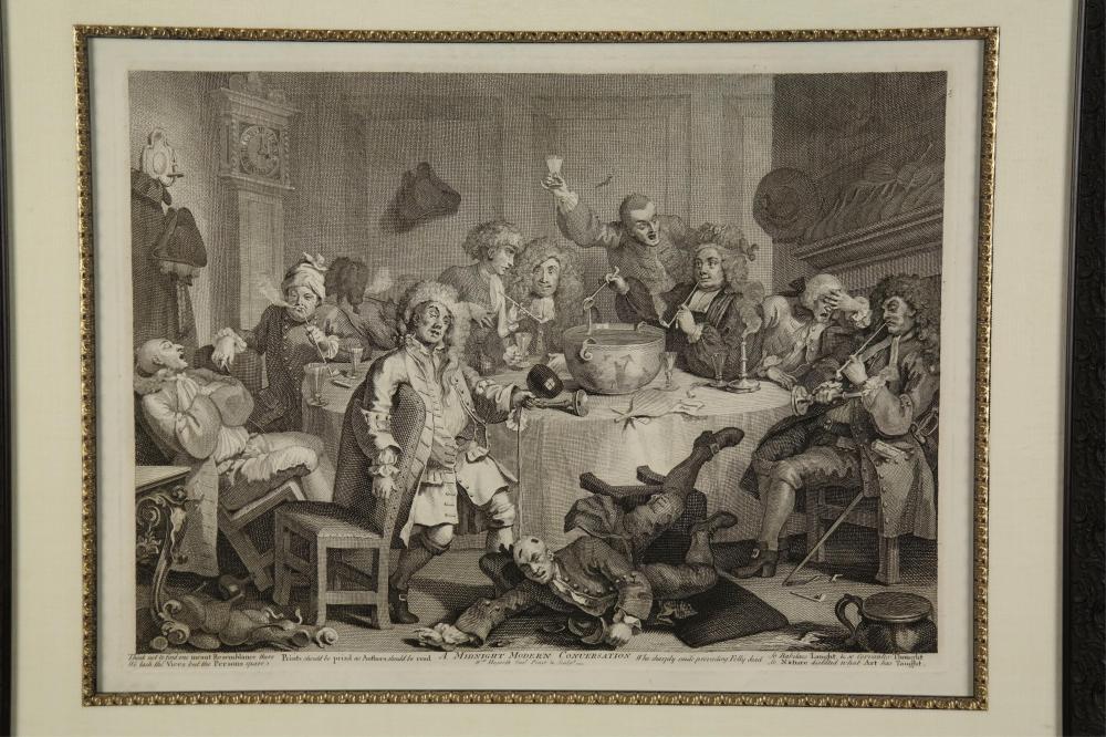 Lot 347: Hogarth. A Midnight Modern Conversation. c. 1732.