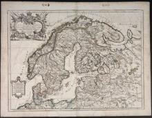 3 Maps by De Rossi: Scandinavia, Russia, Prussia.