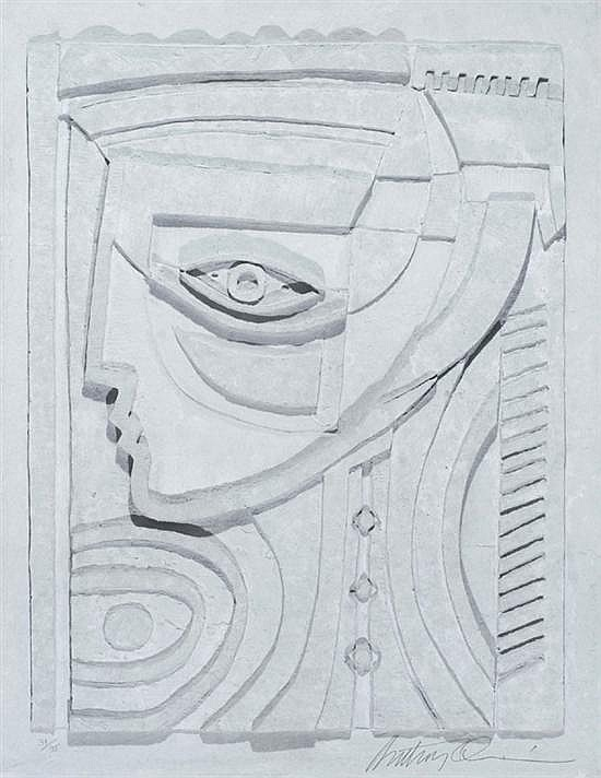 Quinn, Anthony (U.S./Africa, 1915-2001). Abstract figural profile.