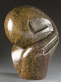 "Gopito, David (Af./ Zimbabwe, 1946 -- ). ""Deeply Folding"" carved stone Shona sculpture."