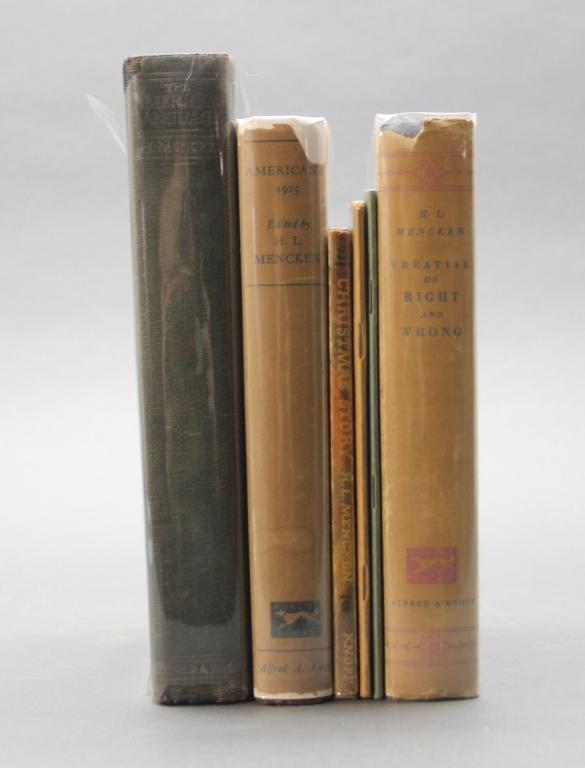 6 Mencken books (1 signed): THE AMERICAN LANGUAGE.